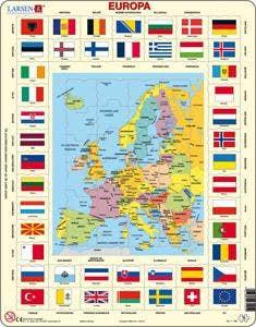 Larsen leerpuzzels - Kaarten staatkundig met Vlaggen