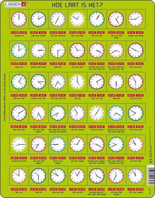 Larsen puzzel - Hoe laat is het?