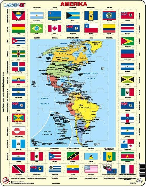 Larsen puzzel - Amerika met vlaggen