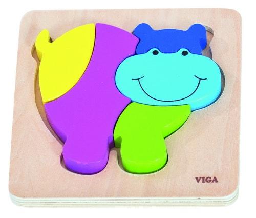 Houten blok puzzel nijlpaard