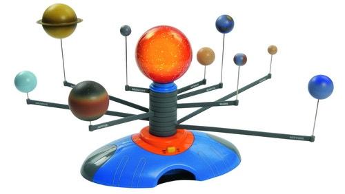 Zonnestelsel met verlichte zon en elektrisch aangedreven rotatie