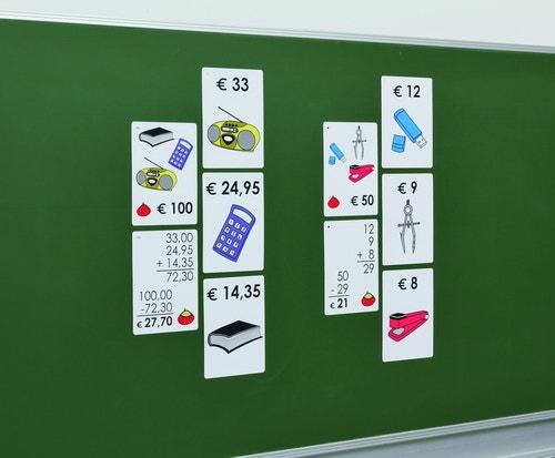 Magnetische winkelafrekenset voor demonstratie op het bord (met afgeronde bedragen in euro)