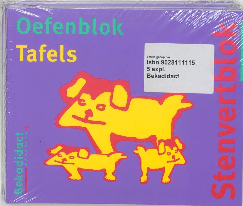 Stenvertblok set 5 ex Tafels Oefenblok