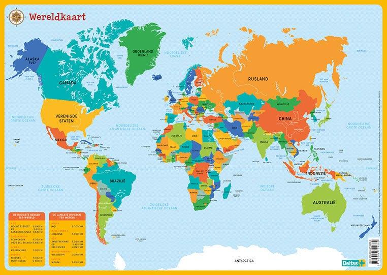 Educatieve onderleggers - De wereldkaart