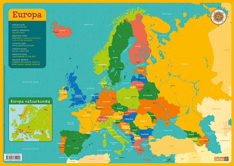 Educatieve onderleggers - Kaart Europa