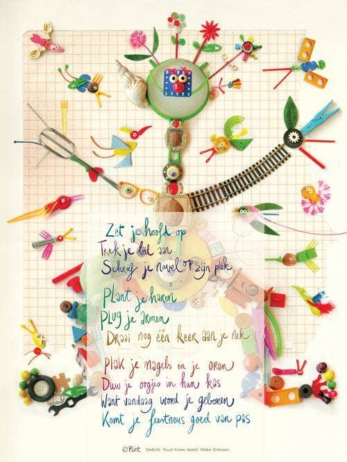 Plint Poezieposter met gedicht Zet je hoofd op van Ruud Kroes