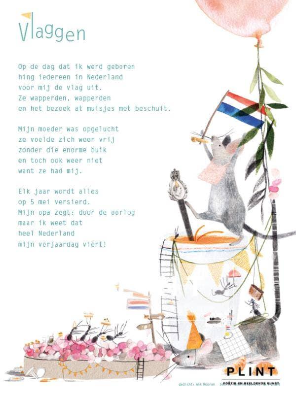 Plint poëzieposter 'Vlaggen' Ank Mooren en Ruth Hengeveld