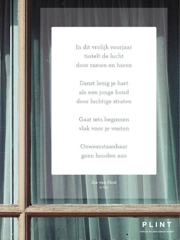 Plint raamgedicht 'In dit vrolijk voorjaar' Jos van Hest