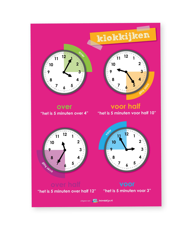 Poster rekenen klokkijken - Lesmaatje