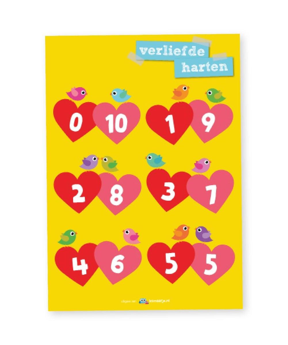Poster rekenen middenbouw verliefde harten - Lesmaatje