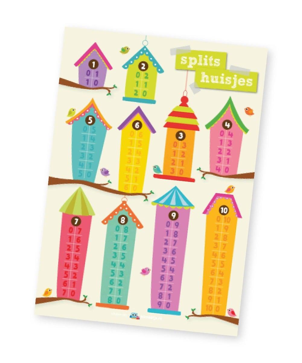 Poster rekenen middenbouw  splits huisjes - Lesmaatje