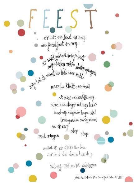 Plint Poëzieposter 'Er zit een feest in mij' Ann Verstraete
