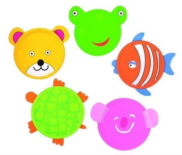 Frisbee met dierenprint (set 5 stuks)