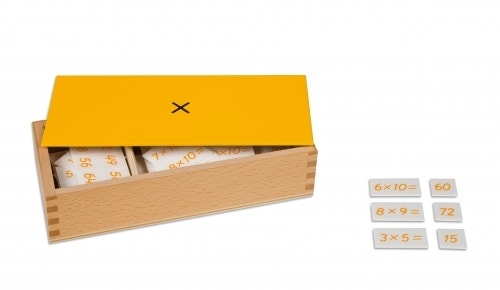 Kist met oefenmateriaal van de tafels van vermenigvuldiging