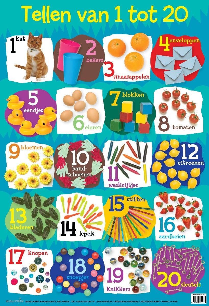 Poster Tellen van 1 tot 20 - Edutrix
