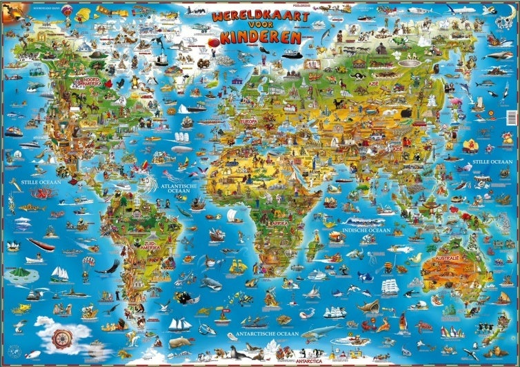 Poster Wereldkaart voor kinderen